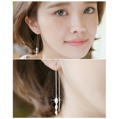 Miss21 Korea - Rhinestone Threader Earrings