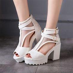 Megan - T-Strap Chunky-Heel Sandals