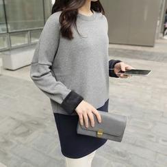 CLICK - Color-Block Brushed-Fleece Dress
