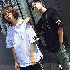Azure - Couple Matching Short-Sleeve Hooded T-Shirt
