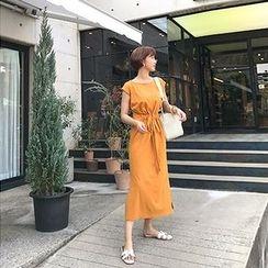 MARSHMALLOW - Drawstring-Waist Slit-Side Maxi Dress