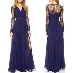 Katemi - Long-Sleeve Lace Panel A-Line Evening Gown