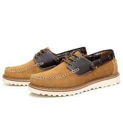 EnllerviiD - Genuine-Leather Stitched Deck Shoes