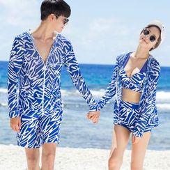 rosiwini - Printed Swim Shorts / Set: Patterned Bikini + Cover