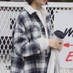 EKOOL - Long-Sleeve Fleece-Lined Plaid Long Blouse