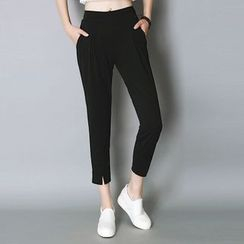Cobogarden - Cropped Slit Harem Pants