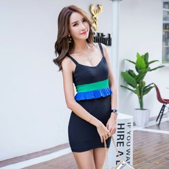 Hazie - Colour Block Peplum Strap Dress