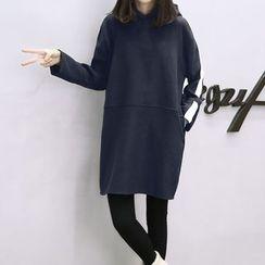 lilygirl - 纯色风帽连衣裙