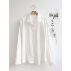 hellopeco - Tab-Sleeve Pocket-Front Shirt