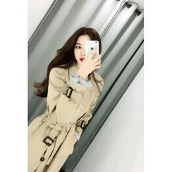 ATTYSTORY - Double-Breasted Trench Coat with Belt