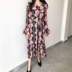 Dute - Long-Sleeve Floral Pleated Midi Dress