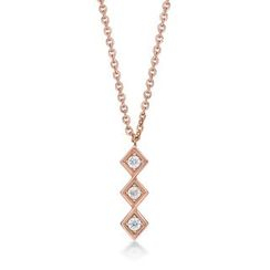 Kenny & co. - 14K Rose Gold Plated Steel Necklace with Square Crystal Pendant