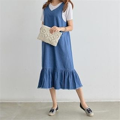 PEPER - Sleeveless Ruffle-Hem Denim Dress