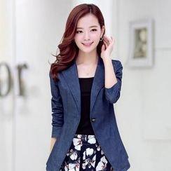 AiSun - Set: Single-Button Denim Jacket + Camisole + Floral A-Line Skirt