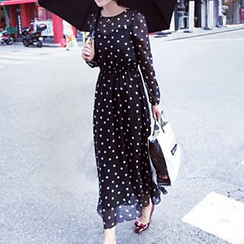 Ashlee - Polka Dot Long-Sleeve Maxi Chiffon Dress