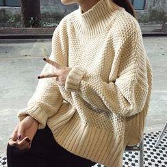 時尚麻豆家 - 粗織高領毛衣