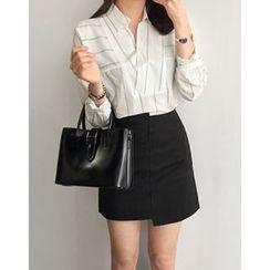 UPTOWNHOLIC - Asymmetric-Hem Cotton Skirt