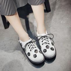 幸福鞋坊 - 仿皮花饰乐福鞋