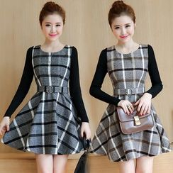 Elinor - Plaid Long Sleeve A-Line Mini Dress
