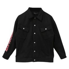 Mr. Cai - Letter-Embroidered Buttoned Jacket