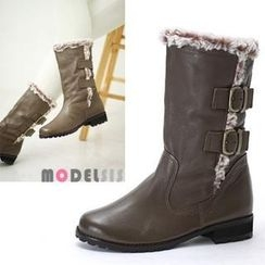MODELSIS - Genuine Leather Faux-Fur Buckled Boots