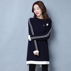 Romantica - Contrast-Trim Knit Tunic