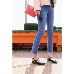 CHERRYKOKO - Fray-Hem Washed Straight-Cut Jeans