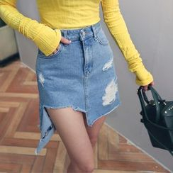 DABAGIRL - Cutout Distressed Denim Mini Skirt