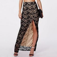 Richcoco - Side Slit Lace Maxi Skirt