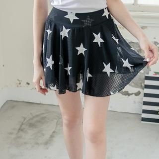Tokyo Fashion - Star-Print Chiffon Mini Skirt