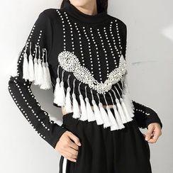 Ultra Modern - Beaded Tasseled Cropped Long Sleeve T-Shirt