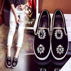 JY Shoes - Embellished Slip-Ons
