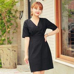 HOTPING - Wrap-Front Linen Blend Dress