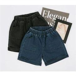 ZIZIBEZIRONG - Banded-Waist Roll-Up Denim Shorts