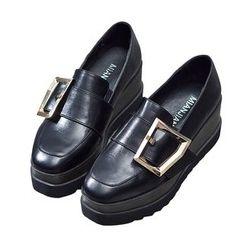 VIAN - 坡跟防水台圆头乐福鞋