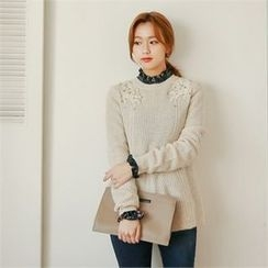 Styleberry - Appliqué Studded Wool Blend Sweater