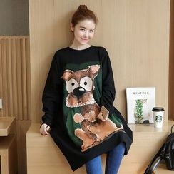 VIZZI - Dog Print Long Pullover