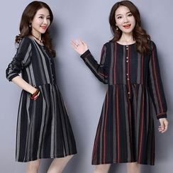 Diosa - Pinstripe Long-Sleeve Dress