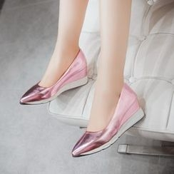 Pastel Pairs - Metallic Pointed Wedge Pumps