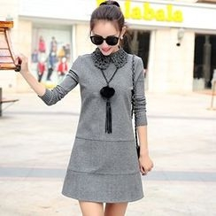 lilygirl - Long-Sleeve Knit Panel Dress