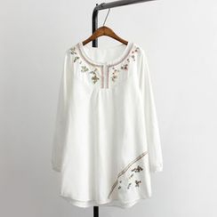 Aigan - Long-Sleeve Embroidery Tunic