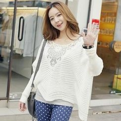 REDOPIN - Lace-Trim Rib-Knit Sweater