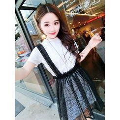 GOGO Girl - Set: Plain T-Shirt Dress + Lace Suspender Skirt