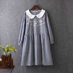 藍玫瑰衣坊 - 長袖格子腰結帶連衣裙