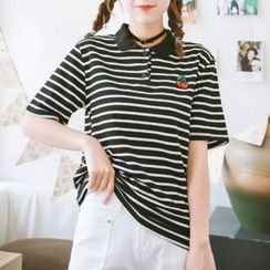Coolvibe - Short-Sleeve Striped Embroidered Polo Shirt