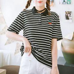 Coolvibe - 短袖条纹刺绣马球衫