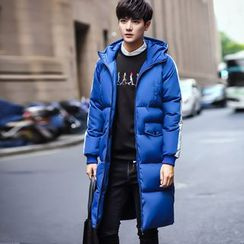 Eight Degrees - Lettering Hooded Long Padded Coat