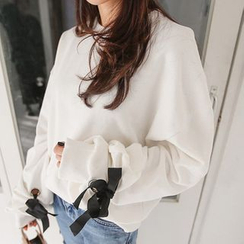 PPGIRL - Tie-Sleeve Loose-Fit Pullover