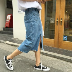 Denim Fever - Slit Front Midi Denim Skirt