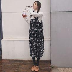 Bloombloom - Floral Print Strap Chiffon Dress